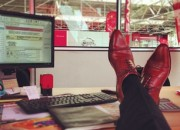 Sales, leather shoes on desk, katie wagner social media, social sales