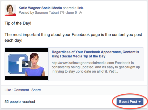 boosted post example, facebook ads, social media help