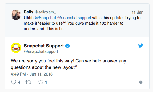 Snapchat Tweets About App Update – KWSM: a digital marketing agency