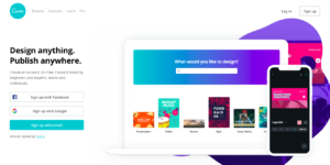 Screen grab of Canva home page