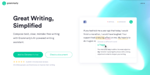 Screen grab of Grammarly home page