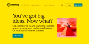 Screen capture of MailChimp's home page