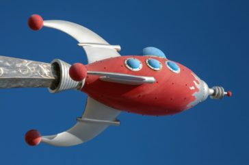 red rocketship