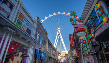 colorful signs along the las vegas linq