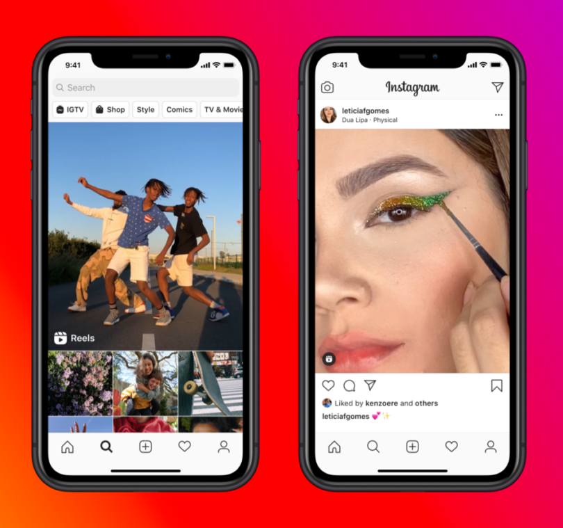 Two screenshots of Instagram Reels on phones are featured. From left to right: three men appear dancing in a Reels on the top of the Discover page, a woman's posted Reels is a close up of her applying eyeliner.