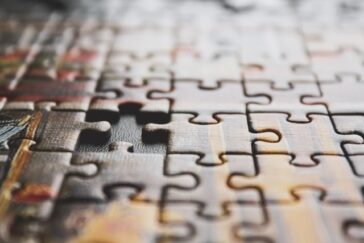 close up of a puzzle with one piece missing