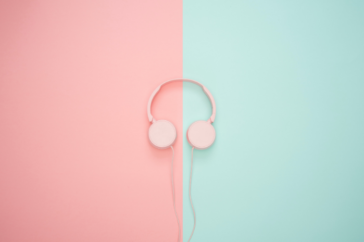 pink and turquoise headphones