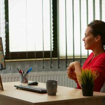 woman networking online